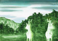 Pierluigi Pusole - Animale speculare - 2011 - acrilico e acquerello su carta - 70 x 100 cm