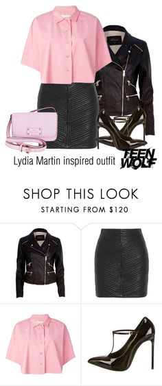 """Lydia Martin inspired outfit/TW"" by tvdsarahmichele ❤ liked on Polyvore featuring River Island, Balmain, Golden Goose, Yves Saint Laurent and Kate Spade"