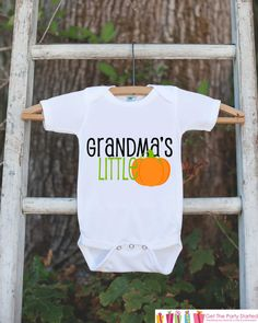 Grandma's Little Pumpkin Halloween Shirt, Kids Halloween Outfit, Autumn Outfit for Baby by getthepartystarted