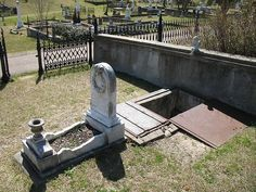 (Sad)... Natchez - 10 yr old Florence died in 1871. She was extremely frightened of storms and her grief-stricken mother had Florence's casket constructed with a glass window at the head. The grave was dug to provide an area, the same depth of the coffin, at the child's head, but this area had steps that would allow the mother to descend to her daughter's level so she could comfort her during storms. To shelter the mother, metal trap doors were installed over the area the mother would…