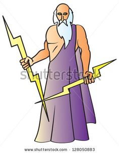 A cartoon drawing of the Greek God Zeus also known as the Roman god Jupiter holding his signature lightning bolts. by JSlavy, via Shuttersto...