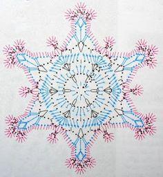 Galeria rozmaitości: Wzory szydełkowe-Boże Narodzenie Crochet Snowflake Pattern, Christmas Crochet Patterns, Holiday Crochet, Crochet Snowflakes, Crochet Diagram, Crochet Motif, Crochet Doilies, Crochet Flowers, Crochet Angels