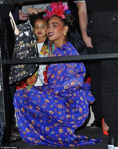 Mini-me: The 33-year-old was accompanied by her adorable daughter Blue Ivy, who was dresse...