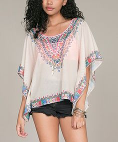 Love this Ivory Geo Mesh Cape-Sleeve Top by Flying Tomato on #zulily! #zulilyfinds