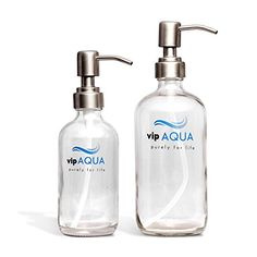 Vipaqua Clear Glass Soap Dispenser with Stainless Steel Pump, 16oz & 8oz (2 Pack), for Kitchen & Bathroom, Perfect for Handmade Soap, Shampoo, Essential Oil, Mouthwash Liquid, Lotion, EXTRA FREE PUMP  #16oz&8oz(2Pack) #DecorativeBottles #EssentialOil #EXTRAFREEPUMP #forKitchen&Bathroom #Lotion #MouthwashLiquid #PerfectforHandmadeSoap #Shampoo #VipaquaClearGlassSoapDispenserwithStainlessSteelPump