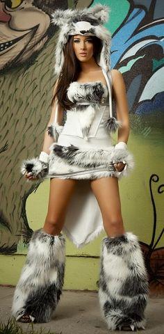 Valentine Black Cat Halter Corset /& Skirt w// Faux Fur Tail Costume CS118 SALE J