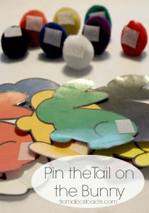 Pin the tail on the bunny color matching Easter game for kids.