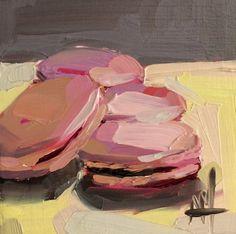 Framboise macarons nature morte bonbons huile peinture originale par Angela Moulton 4 x 4 pouces sur commande anticipée du panneau contreplaqué bouleau