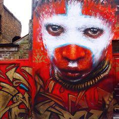 London | Mai '16 #awesome #tribal #streetart #streetsoflondon #redface #painting #urbanart #streetphotography #wallart #dalegrimshaw #papua #streetartlondon #streetarteverywhere #graffiti #shoreditch #shoreditchstreetart #bricklane #imlovinit by bosnadine from Shoreditch feed from Instagram hashtag #shoreditch www.justhype.co.uk Hype Store - Boxpark Shoreditch.