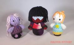I crocheted the Crystal Gems from Steven Universe!These cuties will be for sale in the Artist Alley at SacAnime Summer 2015 this weekend!!