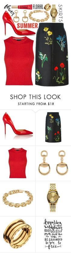 """""""Floral Skirt: Contest Entry"""" by isquaglia ❤ liked on Polyvore featuring Christian Louboutin, STELLA McCARTNEY, Topshop, Gucci, Calvin Klein, Nixon, Bulgari and Floralskirts"""