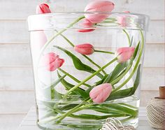 Fresh way to arrange spring tulips.