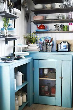 I tend to gravitate toward white cottage kitchens but then I see stuff like this beautiful blue cabinet and colors and want something like that! who can choose? A Colorful Icelandic Cottage Kitchen — Kitchen Spotlight Cozy Kitchen, Kitchen Dining, Kitchen Decor, Kitchen Cabinets, Blue Cabinets, Open Kitchen, Turquoise Cabinets, Rustic Kitchen, Kitchen Corner