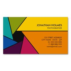 Aperture Colors Photographer business card. I love this design! It is available for customization or ready to buy as is. All you need is to add your business info to this template then place the order. It will ship within 24 hours. Just click the image to make your own!