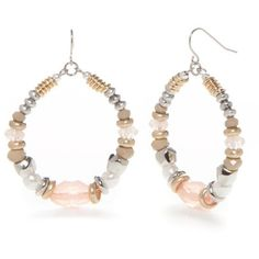 Ruby Rd  Silver-Tone Desert Rose Beaded Drop Earrings ($9.60) ❤ liked on Polyvore featuring jewelry, earrings, pink multi, pink earrings, beading earrings, beaded hoop earrings, pink jewelry and beaded jewelry