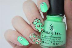 Neon Mint Green Leopard Print Nails