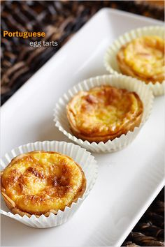 Portuguese egg tarts and Portuguese egg tarts recipe. This easy egg tarts recipe calls for store-bought ingredients for the tastiest Portuguese egg tarts ever!