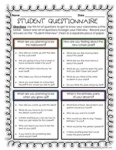 A super fun way to start off the new school year! - Student Interviews - Getting to Know Your Classmates!