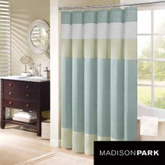 Brighten Up Your Bathroom With This Striped Shower Curtain. It Is Made Of  Faux Silk
