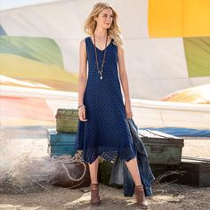 """ALFRESCO EMBROIDERED DRESS--You're gorgeous in this fully lined, fitted embroidered mesh dress. Handkerchief hem, flattering seaming and side zip. Cotton/nylon with polyester lining. Hand wash or dry clean. Imported. Exclusive. Sizes XS (2), S (4 to 6), M (8 to 10), L (12 to 14), XL (16). Approx. 51""""L at longest point."""