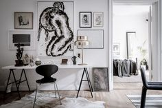 white desk + black c