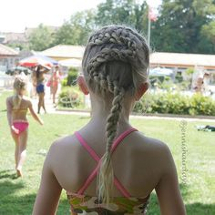 """Another swimming braid from yesterday.  Check out today's blog post for more tips on swimming braids!  Love the background in this picture: the Swiss flag and the little sister.  This is a 4 strand snake braid for @jehat #beachhaircontest.  4 osainen käärmeletti eilisestä uimareissulta.  Blogissani lisää vihjeitä uimalettejä varten."" Photo taken by @jennishairdays on Instagram, pinned via the InstaPin iOS App! http://www.instapinapp.com (07/17/2015)"