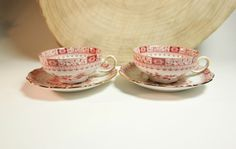 50s Seltmann & Weiden two RARE low and wide tea cup and saucer sets in pattern Theresia red. Morning breakfast German china tea cups + saucers. Gold trimmed Bavaria porcelain red transferware stylish drinkware in great condition. The price is for both sets! On offer  by SoVintastic on Etsy;-)