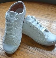 White lace converse style wedding shoes £55.00