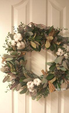 크리스마스 리스, 드라이플라워 리스만들기,그린리스,목화리스,솔방울리스,계피리스,파피오플라워 : 네이버 블로그
