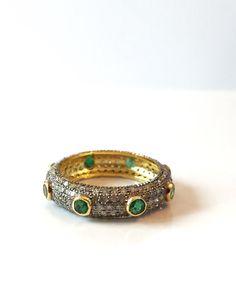 Emerald Gold Ring Vintage Art Deco Diamond by AntiqueJewelryForFun