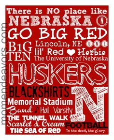 DIY Team Spirit Subway Art – Huskers Printable {College Football Link Party}