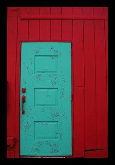 #red handled #doors #aqua