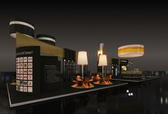 Exhibition stand proposal for ATHENIAN BREWERY company.  The central idea of its architectural design was Athenian Brewery's 50 years presence in the Greek market. A story, revealed inside the booth through visual references and architectural changes. The pavilion showcases the prestige that suits the company, without neglecting or degrading, the popular profile that characterizes their beer.