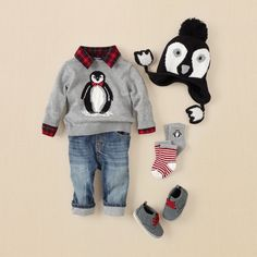 newborn - outfits - picture plaid boy - perfect penguin | Children's Clothing | Kids Clothes | The Children's Place