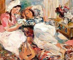 Algérie - Peintre Tchèque, Oskar Spielmann (1901-1973), Huile sur toile,Titre : Jeunes Algeroises dans leur intérieur