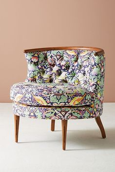 Slide View: 3: Liberty For Anthropologie Strawberry Thief Bixby Chair #RoundChair