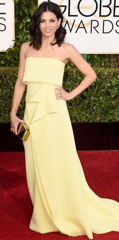 Golden Globes 2015: Red Carpet  Jenna Dewan Tatum in Carolina Herrera with Lorraine Schwartz jewels.