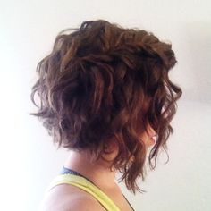 Curly / wavy angled and graduated long bob hairstyle with braid #hair #lob