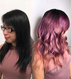 Black to Rose / rose-gold tips, by Gina Atkinson, Los Angeles Hair (@ginaatkinson)