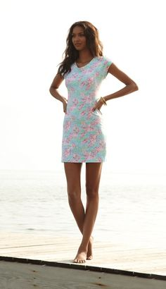 Lilly Pulitzer Westerly Short Sleeve French Terry Dress in Lobstah Roll