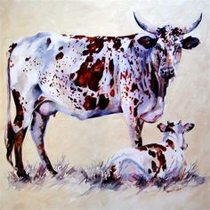 "Artist Terry Kobus © ""Nguni Mother and Calf"" - Oil on canvas 900 x 900mm www.spinman.co.za Pinting Ideas, Cow Photos, South African Artists, Cowboy Art, Animal Paintings, Oil Paintings, Cow Painting, Western Art, Cattle"