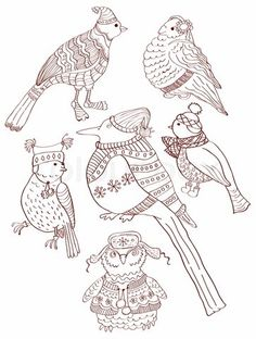 Image of 'A collection of cute hand-drawn bird doodles'