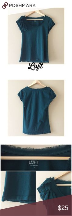 """Ann Taylor Loft jade top S Ann Taylor Loft jade colored short sleeve top with fringed boatneck and fringed flower shaped material on right shoulder. 100% cotton, worn & washed once!15.5"""" armpit to armpit, back is 24"""" long & front is 23"""" long. Comfy & cute💖 LOFT Tops Tees - Short Sleeve"""