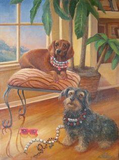 Arte Dachshund, Dachshund Love, Vintage Modern, Daschund, Dachshunds, Illustration Art, Wiener Dogs, Paw Prints, Art Ideas