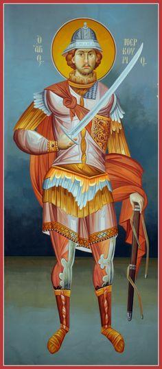 Veneration of Saint Philopatir Mercurius (Abu Sefein) and his Relics Visit Egypt, Orthodox Icons, Ikon, Egyptian, Catholic, Saints, Projects, Spirituality, Horse