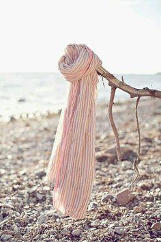 blush pink & white striped scarf