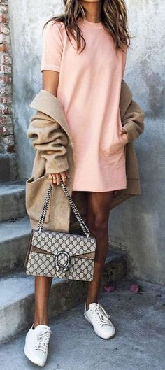 #summer #outfits / pastel pink dress + sneakers