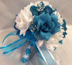 Turquoise White Round Silk Wedding Bridal Bouquet Wedding Flowers