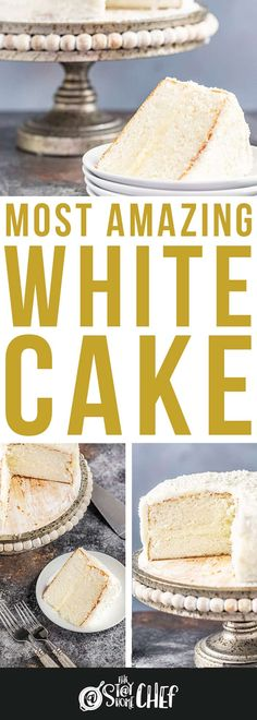 The Most Amazing White Cake recipe is light and airy, and absolutely gorgeous. This is the white cake you've been dreaming of! Amazing White Cake Recipe, Amazing Chocolate Cake Recipe, Best Chocolate Cake, Homemade Desserts, Fun Desserts, Dessert Recipes, Flourless Cake, Sweet Cooking, Sheet Cake Recipes