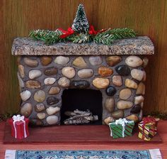 Furniture for the home - Miniature Dolls House Fireplace Miniture Dollhouse, Diy Dollhouse, Miniature Dolls, Miniature Gardens, Miniature Houses, Fairy Furniture, Doll Furniture, Clay Miniatures, Dollhouse Miniatures